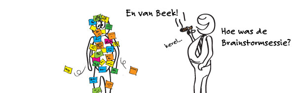 cartoon over brainstormen op het werk